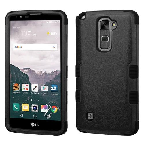Insten Tuff Hard Dual Layer Silicone Case For LG Stylo 2 Plus - Black