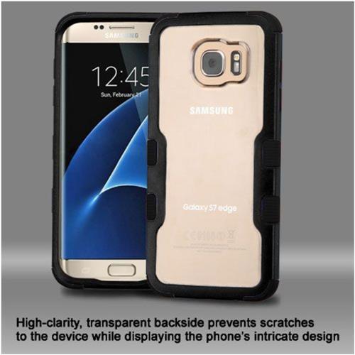 Insten Hard Hybrid Crystal Silicone Case For Samsung Galaxy S7 Edge - Clear/Black