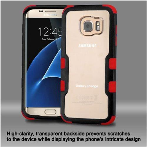 Insten Hard Hybrid Crystal Silicone Cover Case For Samsung Galaxy S7 Edge - Clear/Red