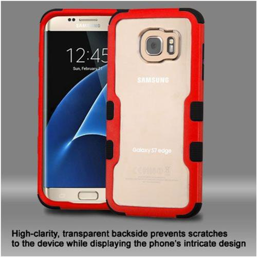 Insten Hard Dual Layer Crystal Silicone Case For Samsung Galaxy S7 Edge - Clear/Red