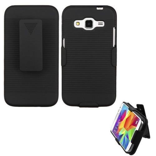 Insten Hard Rubber Coated Cover Case w/Holster For Samsung Galaxy Core Prime - Black