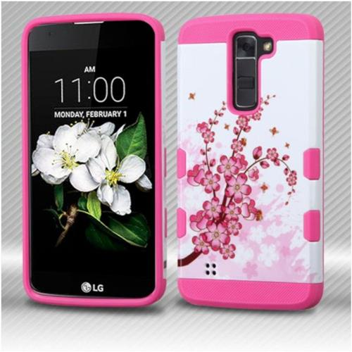 Insten Spring Flowers Hard Rubber Silicone Cover Case For LG K7 Tribute 5/K8 (2016) - Pink/White