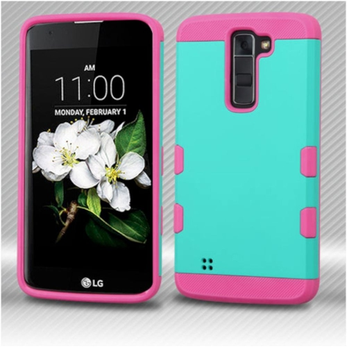 Insten Hard Rubber Coated Silicone Cover Case For LG K7 Tribute 5/K8 (2016) - Teal/Pink