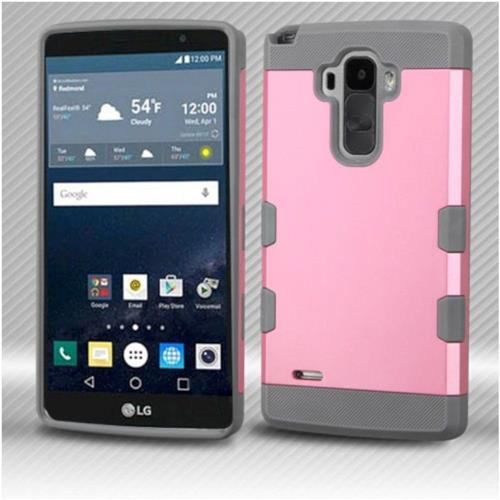 Insten Hard Rubber Coated Silicone Cover Case For LG G Stylo LS770/G Vista 2 - Pink/Gray