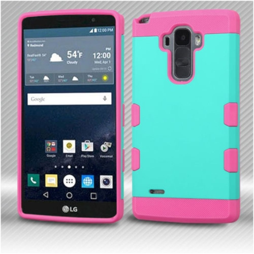Insten Hard Rubber Silicone Case For LG G Stylo LS770/G Vista 2 - Teal/Pink