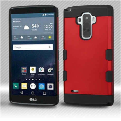 Insten Hard Rubber Coated Silicone Cover Case For LG G Stylo LS770/G Vista 2 - Red/Black