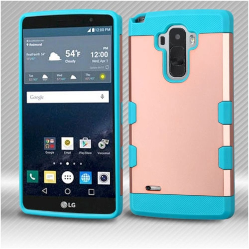 Insten Hard Rubber Silicone Case For LG G Stylo LS770/G Vista 2 - Rose Gold/Teal