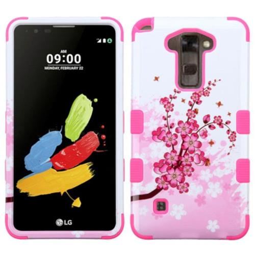 Insten Tuff Spring Flowers Hard Dual Layer Rubber Silicone Case For LG Stylo 2/Stylus 2 - Pink/White