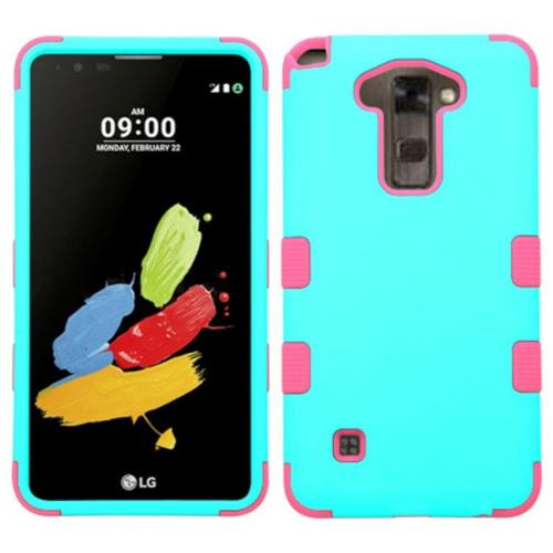 Insten Tuff Hard Dual Layer Rubber Coated Silicone Cover Case For LG Stylo 2/Stylus 2 - Teal/Pink