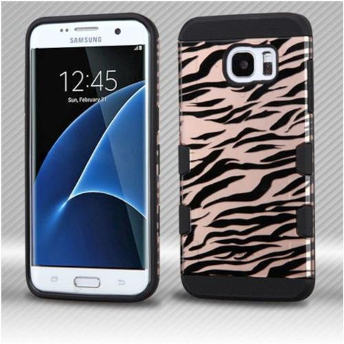 Insten Zebra Hard Rubber Coated Silicone Cover Case For Samsung Galaxy S7 Edge - Rose Gold/Black