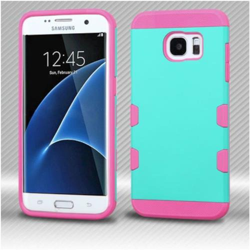 Insten Hard Rubber Silicone Cover Case For Samsung Galaxy S7 Edge - Rose Gold/Teal