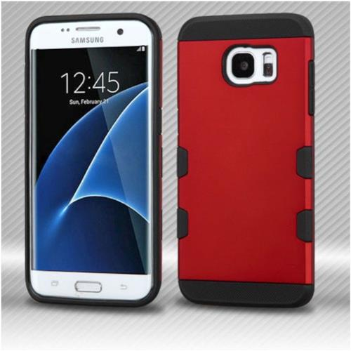 Insten Hard Rubber Silicone Case For Samsung Galaxy S7 Edge - Red/Black