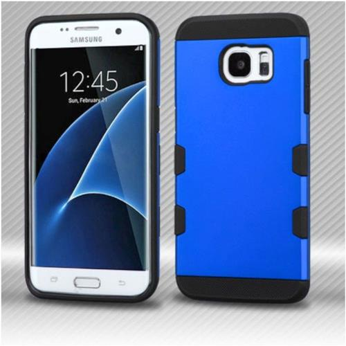 Insten Hard Rubber Silicone Case For Samsung Galaxy S7 Edge - Blue/Black