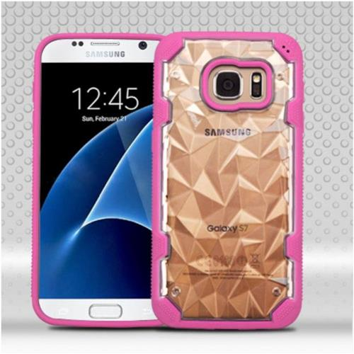 Insten Polygon Hard TPU Case For Samsung Galaxy S7 - Clear/Hot Pink