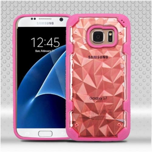 Insten Polygon Hard TPU Case For Samsung Galaxy S7 - Rose Gold/Hot Pink