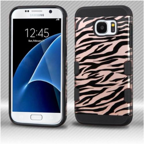 Insten Zebra Hard Rubber Coated Silicone Case For Samsung Galaxy S7 - Rose Gold/Black