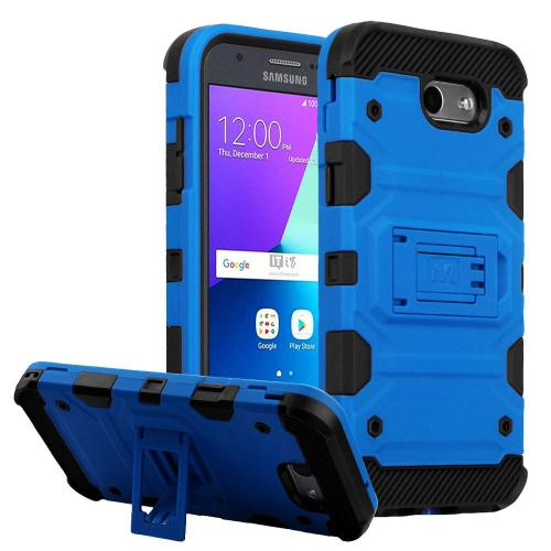 Insten For Samsung Galaxy Amp Prime 2/J3 2017 Blue/Black Storm Tank Hybrid Case
