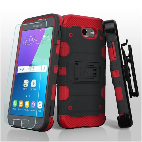 Insten For Samsung Galaxy Amp Prime 2/J3 2017 Red Storm Tank Hybrid Holster Case + SP