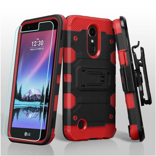 Insten Hard Dual Layer TPU Cover Case w/stand For LG Harmony/K10 (2017)/K20 Plus/K20 V - Black/Red