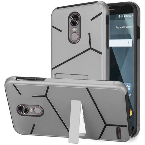 Insten Hard Dual Layer TPU Case w/stand For LG Stylo 3 - Silver/Black