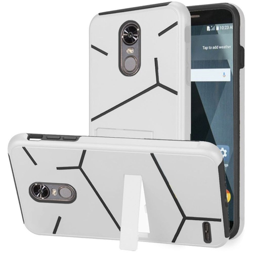 Insten Hard Hybrid TPU Cover Case w/stand For LG Stylo 3 - White/Black