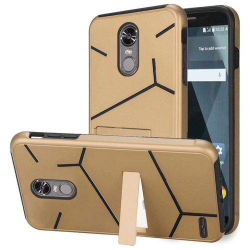 Insten Hard Hybrid TPU Case w/stand For LG Stylo 3 - Gold/Black