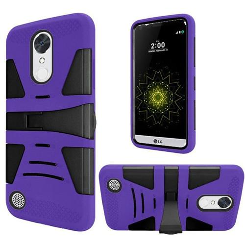 Insten Hard Dual Layer Silicone Case w/stand For LG Grace 4G/Harmony/K20 Plus/K20 V, Purple/Black