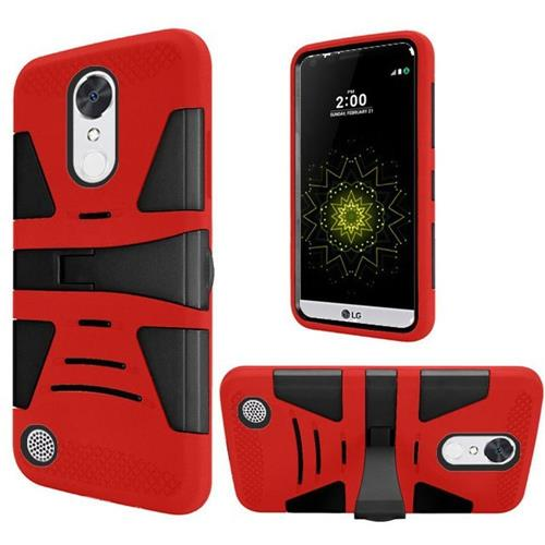 Insten Hard Dual Layer Silicone Case w/stand For LG Grace 4G/Harmony/K20 Plus/K20 V, Red/Black