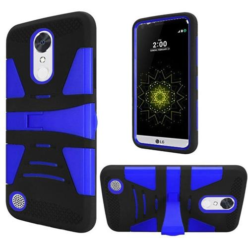 Insten Hard Dual Layer Silicone Case w/stand For LG Grace 4G/Harmony/K20 Plus/K20 V, Black/Blue