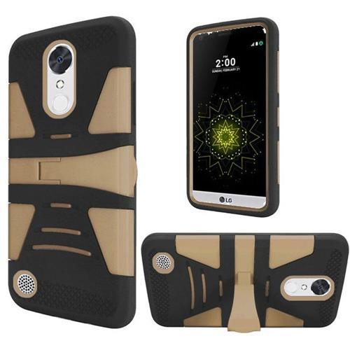 Insten Hybrid Rubber Coated Silicone Case w/stand For LG Grace 4G/Harmony/K20 Plus/K20 V, Black/Gold