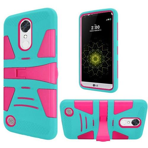 Insten Hard Rubberized Silicone Case w/stand For LG Grace 4G/Harmony/K20 Plus/K20 V, Teal/Hot Pink