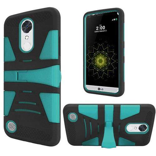 Insten Hard Dual Layer Silicone Case w/stand For LG Grace 4G/Harmony/K20 Plus/K20 V, Black/Teal
