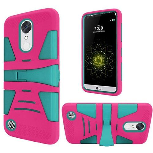 Insten Hard Rubber Silicone Case w/stand For LG Grace 4G/Harmony/K20 Plus/K20 V, Hot Pink/Teal