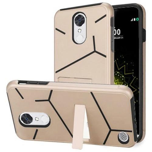Insten Hard Hybrid TPU Case w/stand For LG Grace 4G/Harmony/K20 Plus/K20 V, Gold/Black