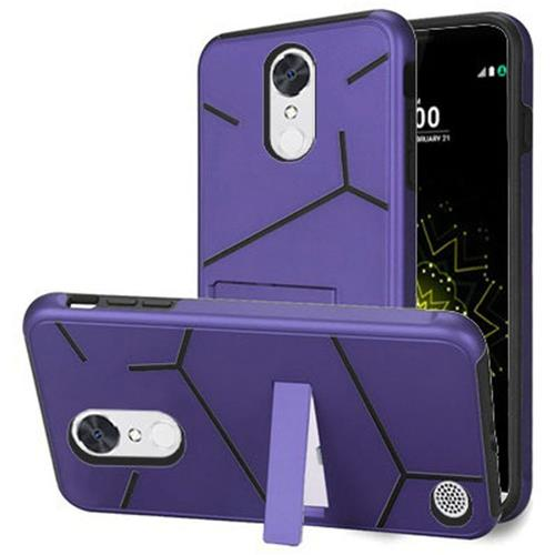 Insten Hard Hybrid TPU Cover Case w/stand For LG Grace 4G/Harmony/K20 Plus/K20 V, Purple/Black