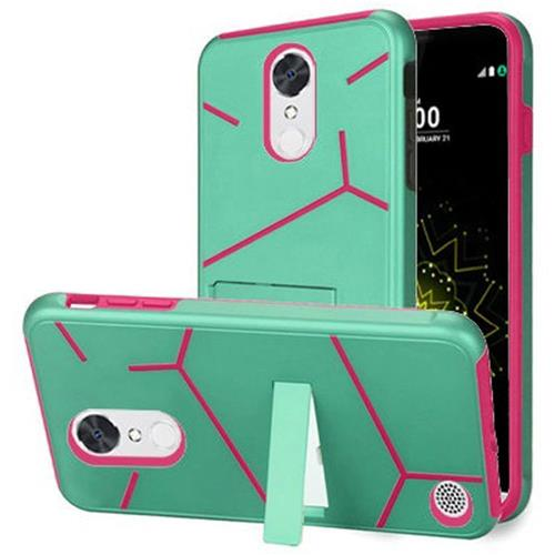 Insten Hard Dual Layer TPU Cover Case w/stand For LG Grace 4G/Harmony/K20 Plus/K20 V, Teal/Hot Pink