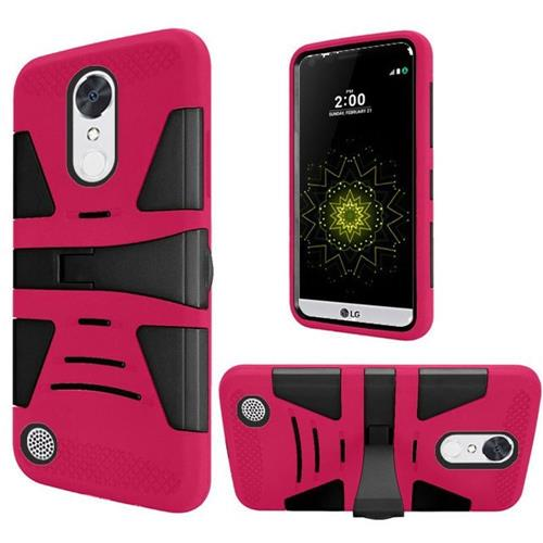 Insten Hybrid Rubber Coated Silicone Case For LG Grace 4G/Harmony/K20 Plus/K20 V, Hot Pink/Black