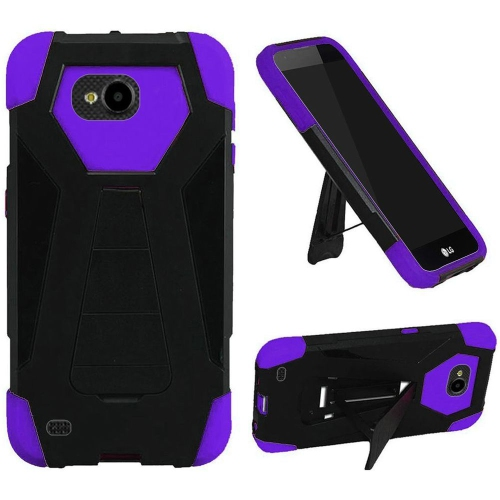 Insten Hard Hybrid Plastic Silicone Case w/stand For LG X Venture, Black/Purple