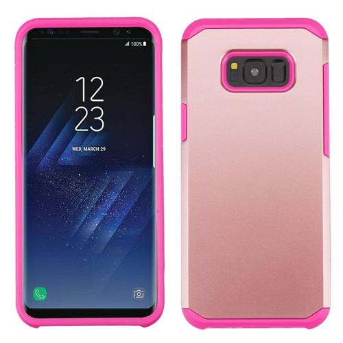 Insten Hard Dual Layer TPU Case For Samsung Galaxy S8 Plus - Rose Gold/Hot Pink