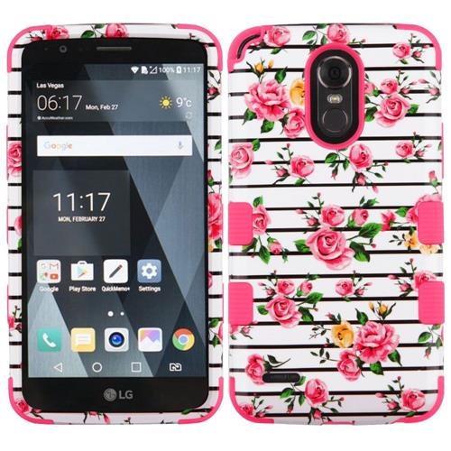 Insten Tuff Fresh Roses Hard Dual Layer Silicone Case For LG Stylo 3 - Pink/White