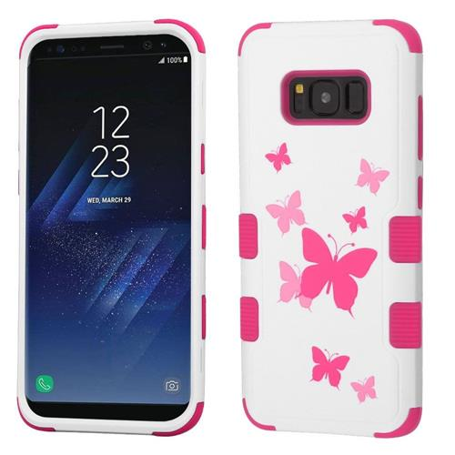 Insten Butterfly Dancing Hard Hybrid Rubber Silicone Cover Case For Samsung Galaxy S8, White/Pink