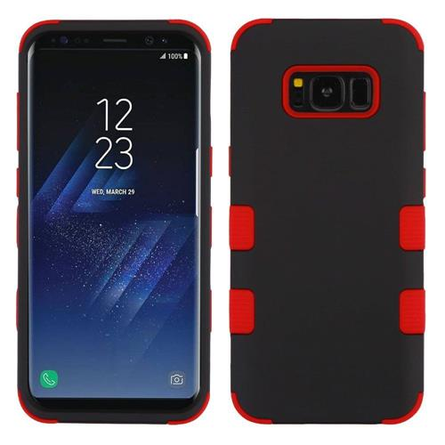 Insten Tuff Hard Hybrid Rubberized Silicone Cover Case For Samsung Galaxy S8 - Black/Red