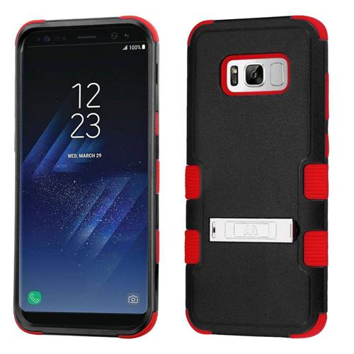 Insten Tuff Hard Dual Layer Silicone Cover Case w/stand For Samsung Galaxy S8 - Black/Red