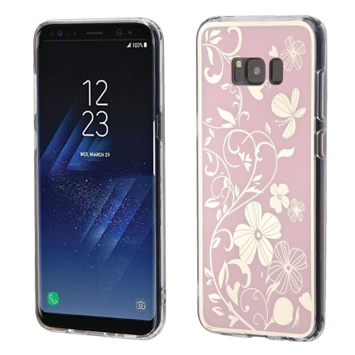 Insten Electroplating Flowers Gel Case For Samsung Galaxy S8 Plus - Pink