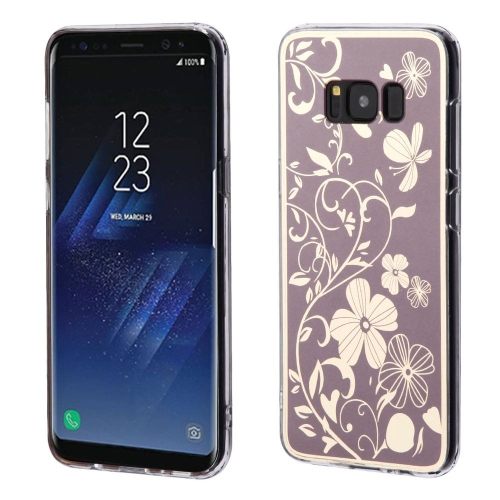 Insten Electroplating Flowers Gel Cover Case For Samsung Galaxy S8 Plus - Brown
