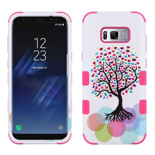 Insten Tuff Love Tree Hard Hybrid Rubber Silicone Cover Case For Samsung Galaxy S8 Plus - White/Pink