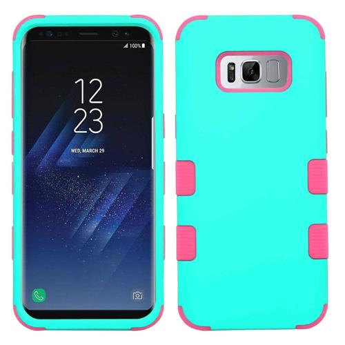 Insten Tuff Hard Hybrid Rubberized Silicone Cover Case For Samsung Galaxy S8 Plus - Teal/Pink