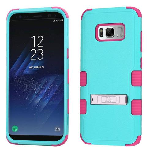 Insten Tuff Hard Dual Layer Rubber Silicone Case w/stand For Samsung Galaxy S8 Plus - Teal/Pink