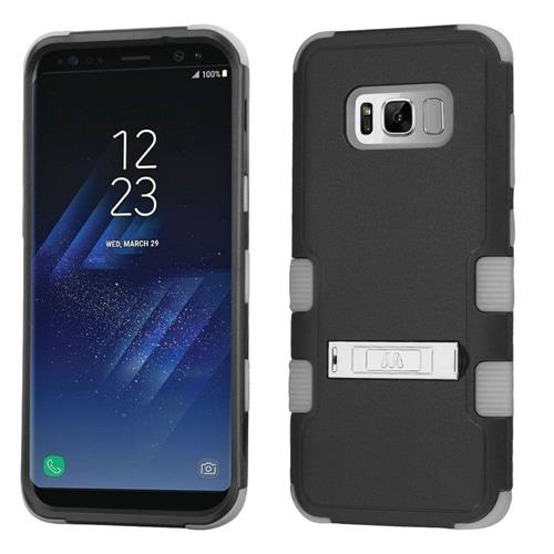 Insten Hard Hybrid Rubber Coated Silicone Cover Case w/stand For Samsung Galaxy S8 Plus, Black/Gray