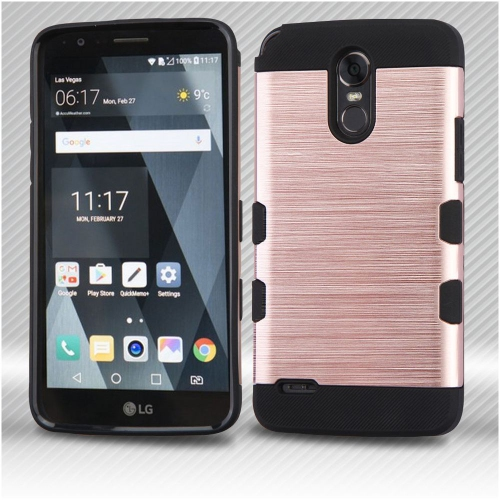 Insten Tuff Hard Hybrid Brushed TPU Cover Case For LG Stylo 3 - Rose Gold/Black